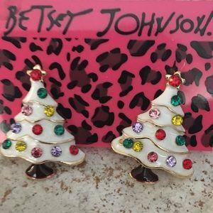 Betsey Johnson Christmas tree enamel bling earring